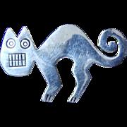 Katzenbuckel Scary Cat 925 Sterling Pin/Brooch