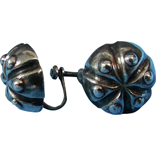 William Spratling Silver Mexico 1940s Earrings