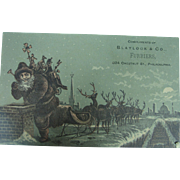 Advertising Trade Card Santa and Reindeer on the Roof