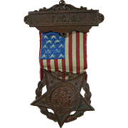 Civil War GAR Auxiliary Badge With Ribbon Medal Insignia