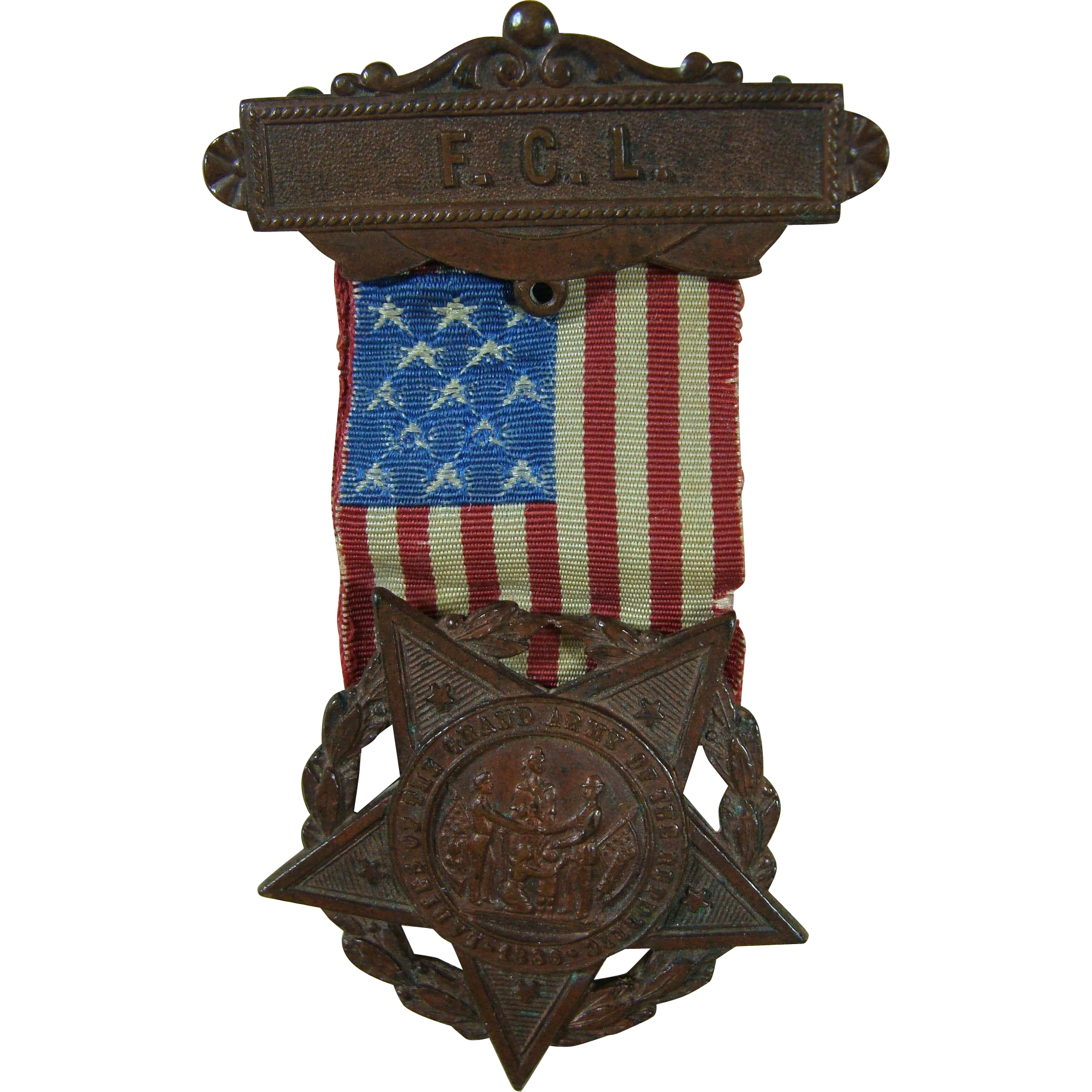 GAR Auxiliary Badge With Ribbon