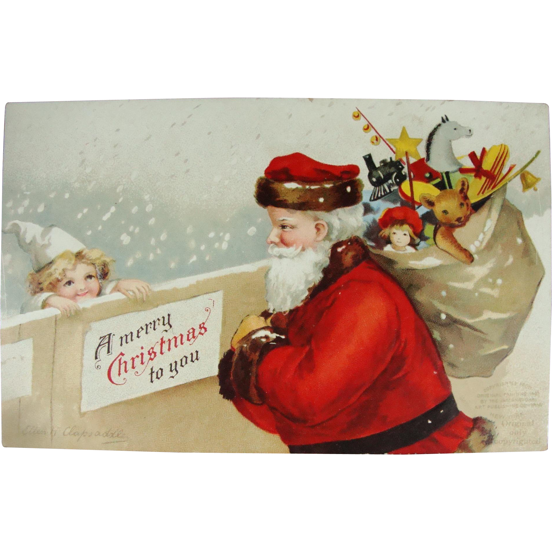Ellen Clapsaddle Undivided Back Christmas Postcard Santa