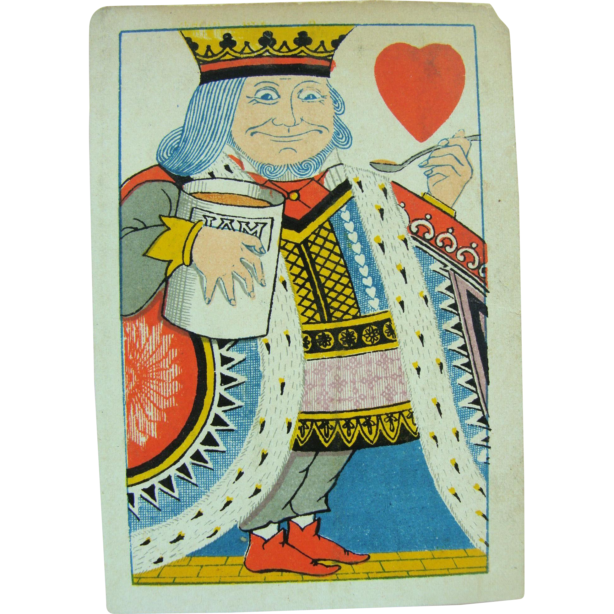 1879 Playing Card  King of Hearts Tiffany Harlequin