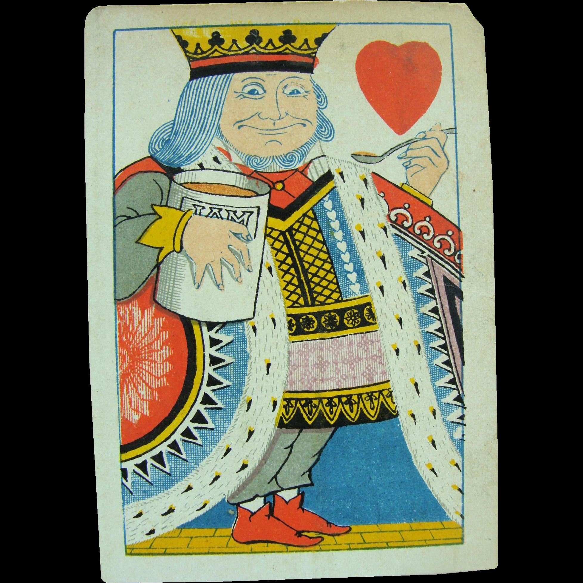 1879 Playing Card Tiffany Harlequin King of Hearts