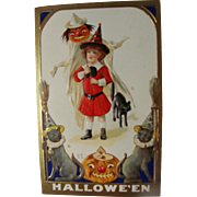 BOO!!..Postcard Halloween Black Cats Cute Witch
