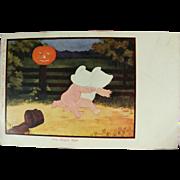 Sun Bonnet Babies Kids Bogie Man Halloween Postcard