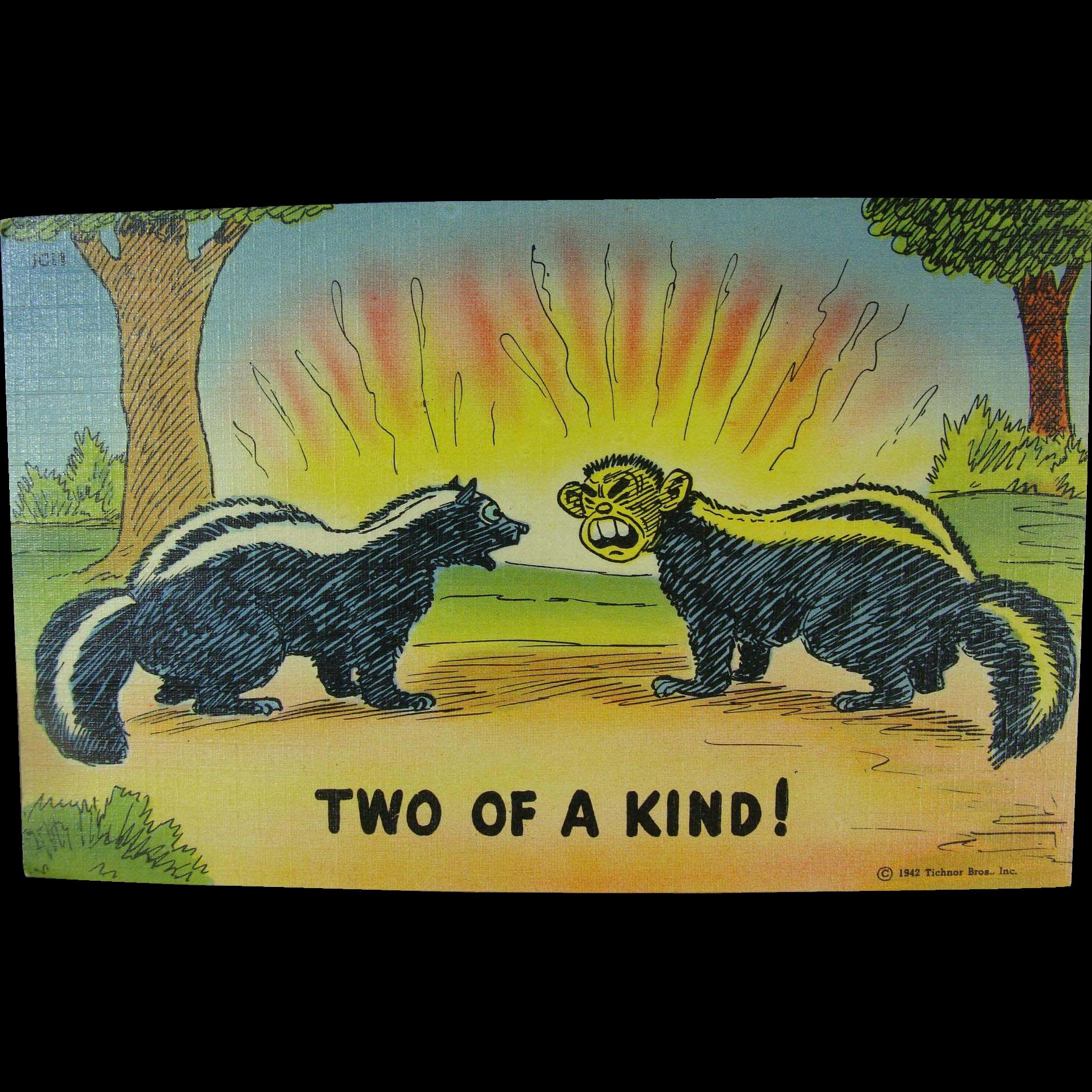 WWII Political Japanese Skunk Joke Post Card
