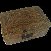 Primitive Folk Art Straw Mosaic Box