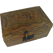 Primitive Folk Art Straw Mosaic Box Sewing Box