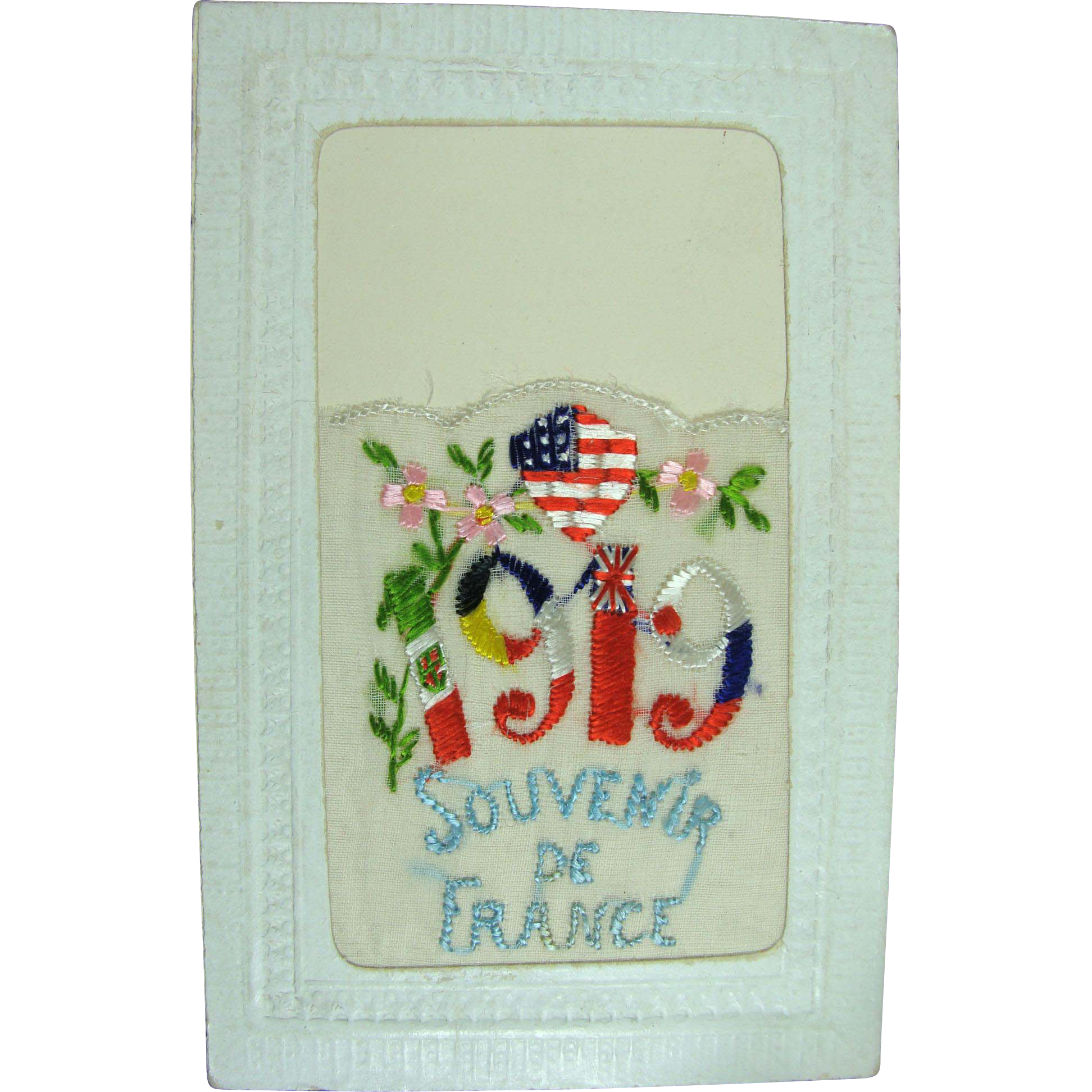 Silk Post Card Souvenir de France