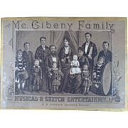 Gibney Family 1860s Traveling Entertainers Advertisement