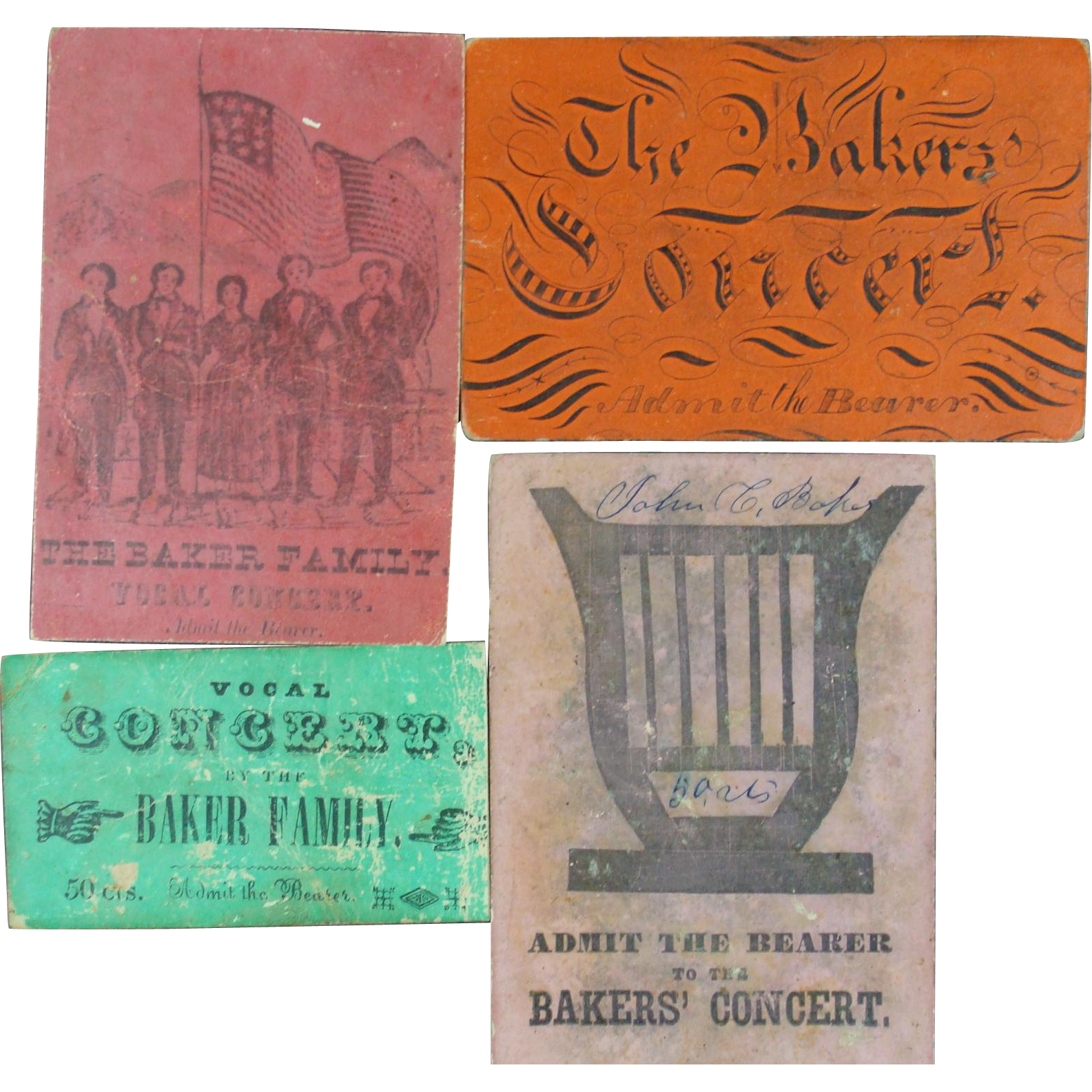 1860s Ticket Stubs Baker Family Concerts