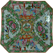 Rose Medallion Pre WWI Chinese Export Square Luncheon  Plate