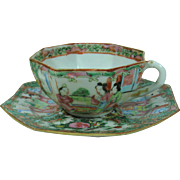 Rose Medallion Chinese Export Hex Shape Cup and Saucer