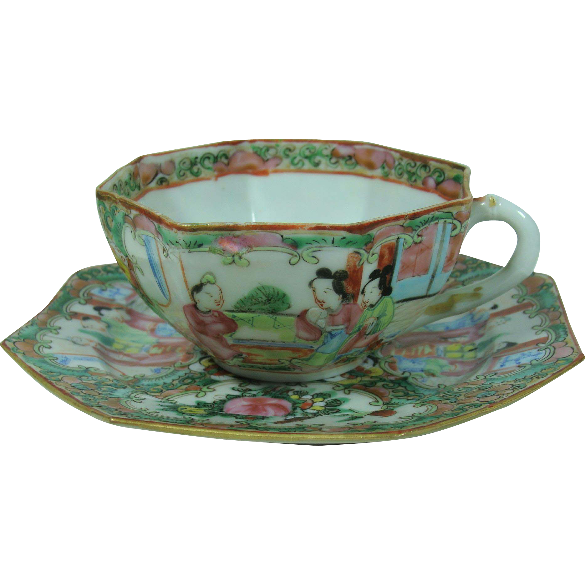 Rose Medallion Octagonal Cup and Saucer