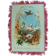 Silk Fringed Christmas Card 19th c.