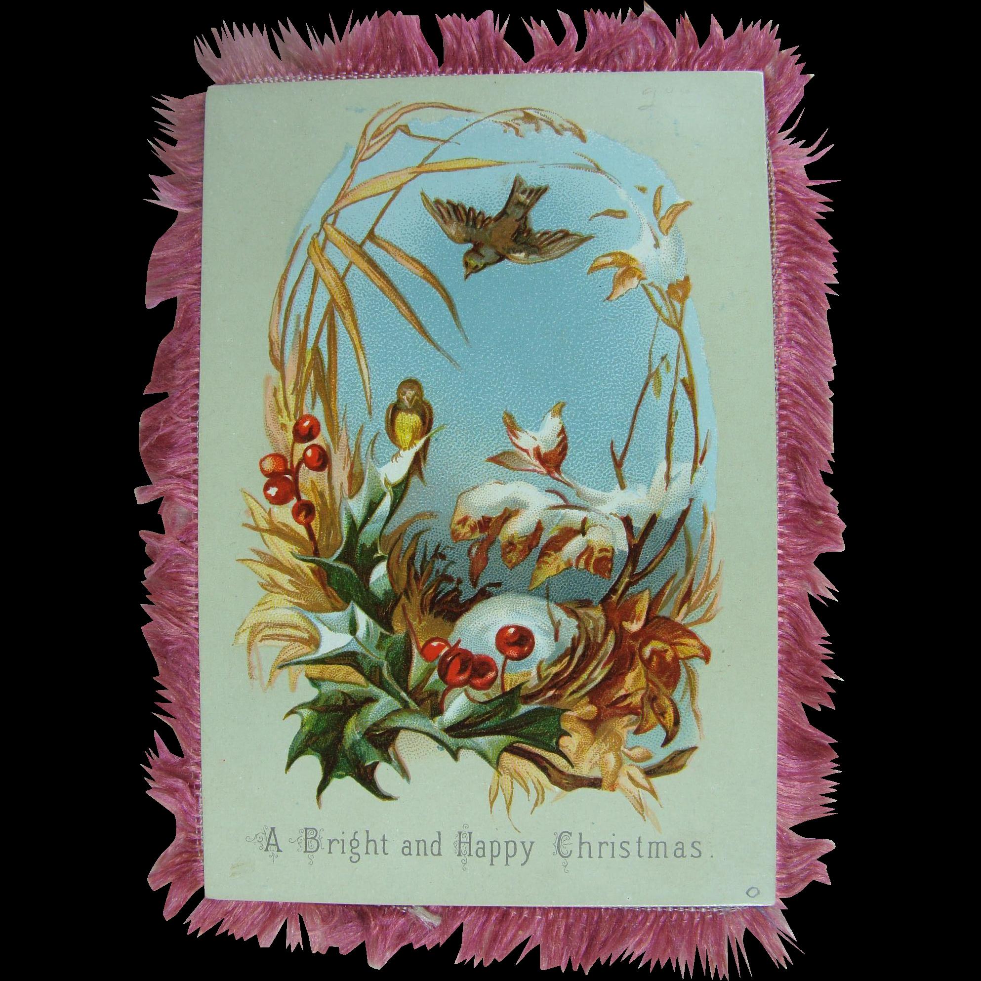 Silk Fringed Christmas Card 19th c.
