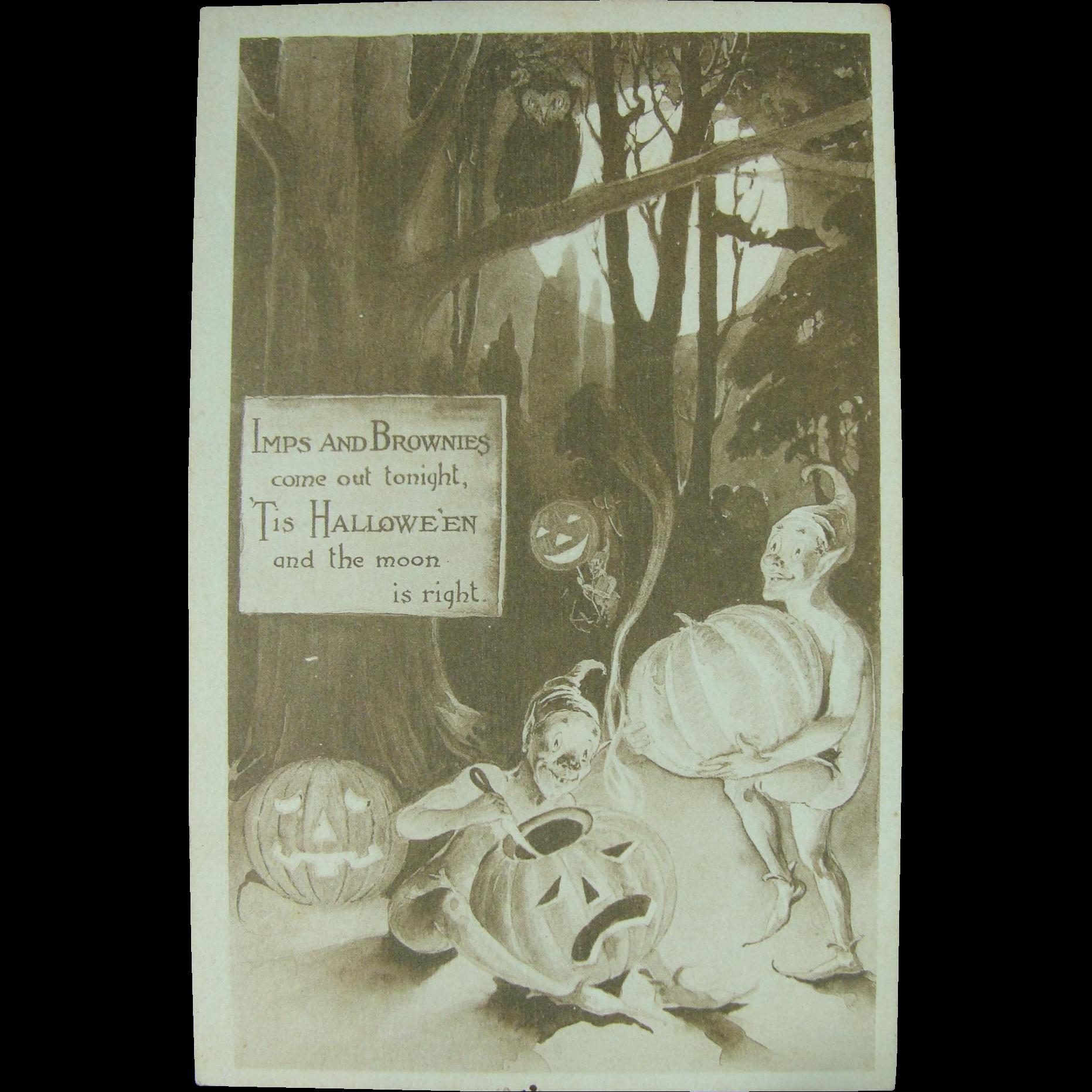 Imps and Brownies Halloween Unused Card