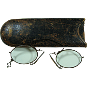 Primitive 19th or 20th Century  Pince Nez Eyeglasses With Case