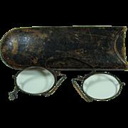 18th Century Pince Nez Eyeglasses With Case