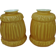 Softly Golden Cased Glass Lampshades Pair
