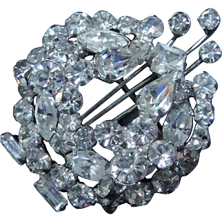 Brooch/Pin Brilliant Rhinestones Mid 1950s