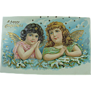 Two Sweet Merry Christmas Angels Post Card Early 20th Century