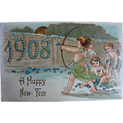 Happy New Year 1908 Angelic Cupids Post Card