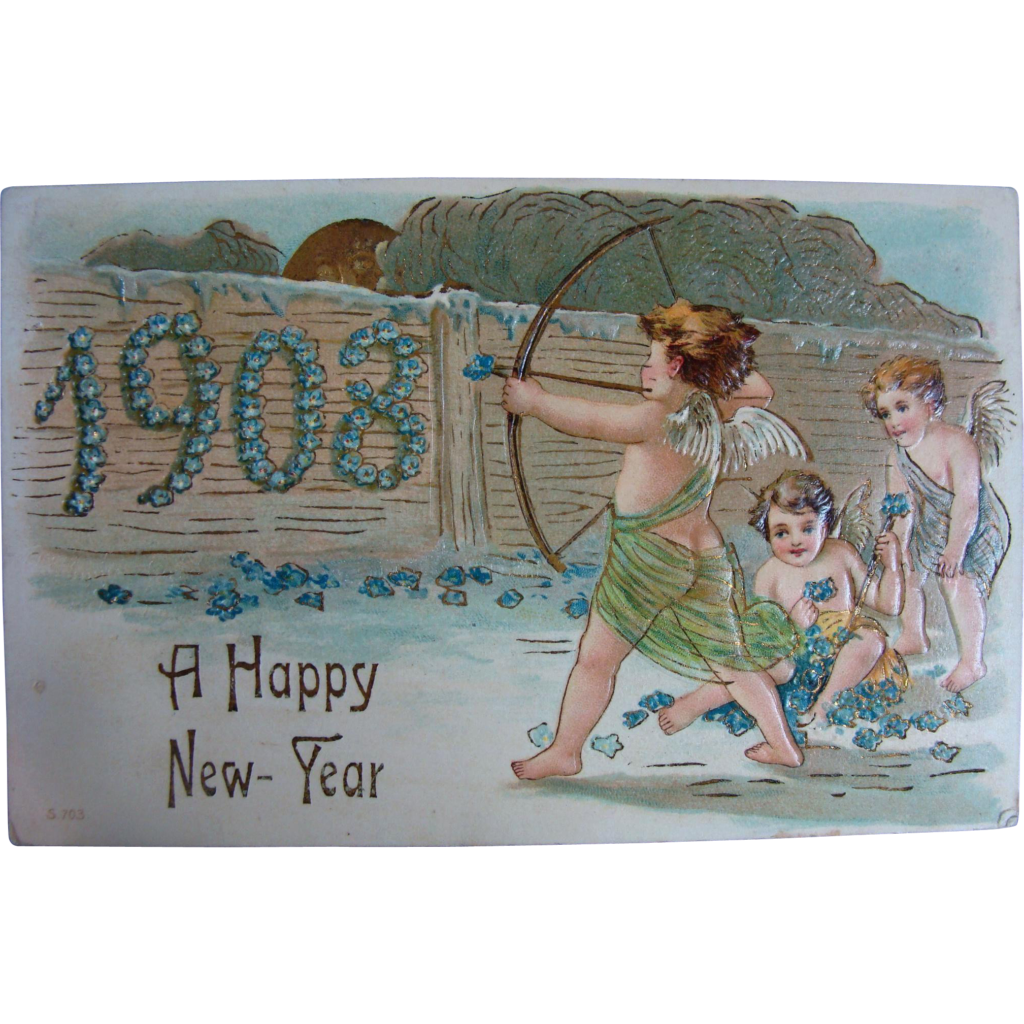 100 Years Old Happy New Year Post Card 1908 From