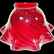 Cranberry Swirl Ruffle Edge Glass Lamp Shade