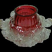 Edwardian Era Cranberry Petaled Glass Lampshade
