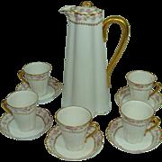 Haviland Limoges Chocolate Pot Set Victorian Era Edwardian Wedding Roses