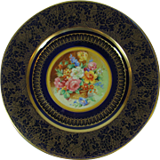 Regal Royal Blue Gilt Trimmed Service Plate Crown Ducal