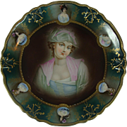German Portrait Cabinet Plate Lovely Maiden