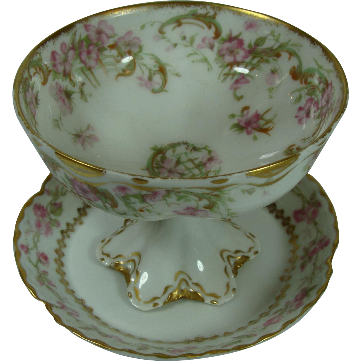 Haviland Limoges Footed Custard With Saucer Under Plate