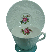 Spode England Bone China Spode's Bridal Rose Porcelain Cup and Saucer Pristine White With Pink Rose