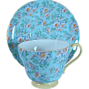 Shelley Bone China Chintz Marguerite Cup and Saucer Daisies, Robin's Egg Blue, Yellow Handle
