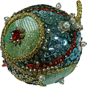 Ornament Pin Sequined Beaded Glitz Retro Handmade 1960s