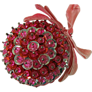 Powerful Pouty Pink Sequined Beaded Pinned Ornament Handmade 1960s