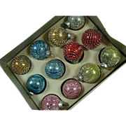 Christmas One Inch Mesh Wrapped Glass Tree Ornaments Original Box One Dozen Mid Century