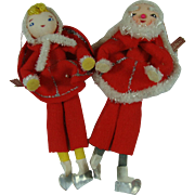 1950s Christmas Package Ties Ornament Chenille Skaters