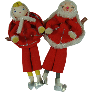 Santa and His Girl Friend Japan Felt Chenille Skaters Tree Ornament Decor
