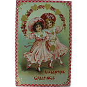 Tuck's Valentine Post Card Dancing Girls Flowers Hearts