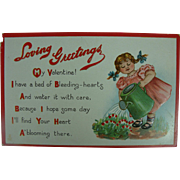 Tuck's Valentine Post Card For The Gardener Bleeding Hearts