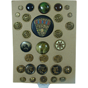 30 Antique Collectible Metal Buttons Mounted Arranged On Card