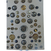 ON HOLD..55 Collectible Metal Buttons Arranged On Card 19th and 20th c