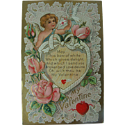 Valentine Post Card Winged Cupid Roses Lace Dove Hearts