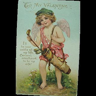 1911 Tuck's Golfing Cupid Valentine Post Card