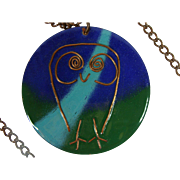 Mid-Century Studio Modernist Enamel On Copper Owl Pendant