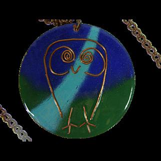 Mid-Century Studio Modernist Enamel On Copper Owl Pendant